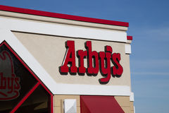Arbys Restaurant Sign. Lancaster, PA - January 15, 2017: Exterior of Arbys Restaurant location. Arbys is a chain restaurant that serves quick-service fast-food Stock Image