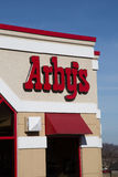 Arbys Restaurant Sign and Logo. Lancaster, PA - January 15, 2017: Exterior of Arbys Restaurant location. Arbys is a chain restaurant that serves quick-service Stock Photo