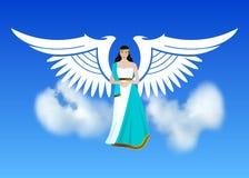 Arcángel Michael, un ángel o arcángel con una espada llameante, defendiendo la tierra, sosteniendo el planeta en sus manos ilustración del vector