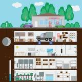 Arcón subterráneo Arcón en la gasolinera Muchas partes de aut stock de ilustración