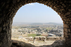 Arc. View from arc of castle Masyaf in Syria Stock Photo