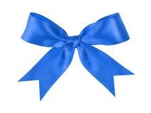 Arc attaché de fête bleu fait à partir du ruban Image libre de droits
