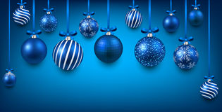 Arc background with blue christmas balls. Stock Image