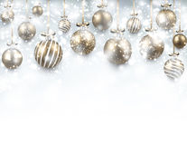 Arc background with golden christmas balls. Stock Photography