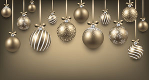 Arc background with golden christmas balls. Royalty Free Stock Image