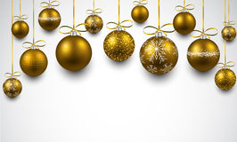 Arc background with golden christmas balls. Stock Images