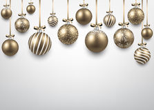 Arc background with golden christmas balls. Royalty Free Stock Images