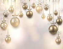 Arc background with golden christmas balls. Stock Photos
