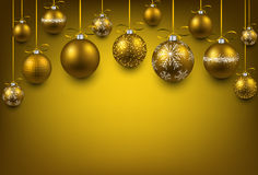 Arc background with golden christmas balls. Stock Photo