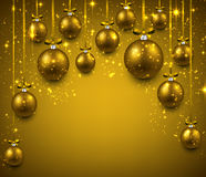 Arc background with golden christmas balls. Royalty Free Stock Photo