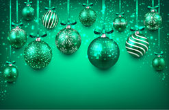 Arc background with green christmas balls. Abstract arc background with green christmas balls. Vector illustration Stock Image