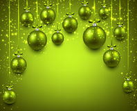 Arc background with green christmas balls. Royalty Free Stock Photo