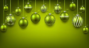 Arc background with green christmas balls. Stock Photos