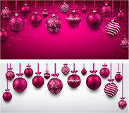 Arc background with magenta christmas balls. Stock Photo