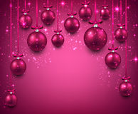 Arc background with magenta christmas balls. Stock Photos