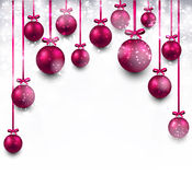 Arc background with magenta christmas balls Royalty Free Stock Image