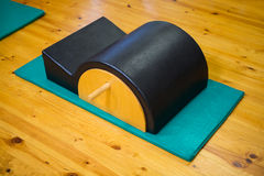 Arc barrel on wooden floor. In gym Royalty Free Stock Photos