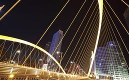 Arc bridge Close-up of nigh. Arc type concept harp cable bridge of city night landscape Stock Photo