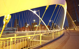 Arc bridge Close-up of nigh. Arc type concept harp cable bridge of city night landscape Royalty Free Stock Image