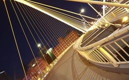 Arc bridge Close-up of nigh. Arc type concept harp cable bridge of city night landscape Stock Photos
