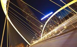 Arc bridge Close-up of nigh. Arc type concept harp cable bridge of city night landscape Stock Image