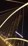 Arc bridge Close-up of nigh. Arc type concept harp cable bridge of city night landscape Stock Images
