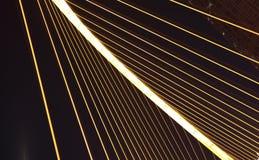 Arc bridge Close-up of nigh. Arc type concept harp cable bridge Close-up of night Royalty Free Stock Photo