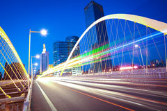 Free Arc Bridge Girder Highway Car Light Trails City Night Landscape Royalty Free Stock Photography - 39348927