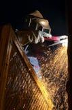 Arc bright. Arc welder at night Royalty Free Stock Image