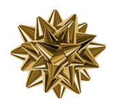 Arc brillant de cadeau d'or Photos libres de droits