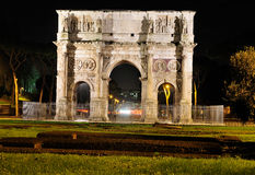 Arc of Constantine by Night. Constantine's Triumph Arc in Rome by Night Royalty Free Stock Image