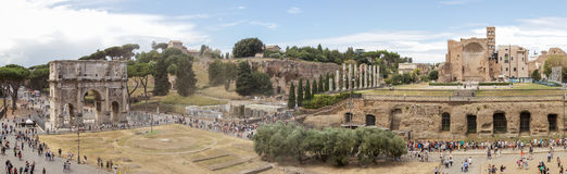 Arc of constantine and for romano panorama. Panoramic view on Arc Of Constantine and For Romano from Colosseum at Rome Stock Photography