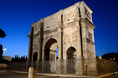 Arc of Constantine, Rome. The Arch of Constantine (Italian: Arco di Costantino) is a triumphal arch in Rome, situated between the Colosseum and the Palatine Hill Stock Photo