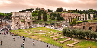 Arc of constantine view from Colosseum at Rome Royalty Free Stock Image