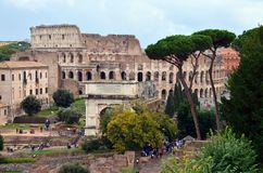 Arc of Constantine view from Colosseum at Rome Stock Images