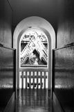 Arc corridor architecture perspective black white Royalty Free Stock Images