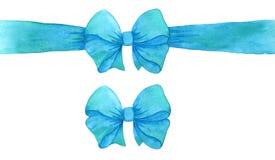 Arc cyan bleu de cadeau arc et ruban de turquoise d'aquarelle Empreinte digitale illustration libre de droits