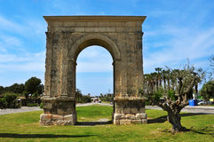 Arc de Bera, an ancient roman triumphal arch in Roda de Bera, Sp. A view of the Arc de Bera, an ancient roman triumphal arch in Roda de Bera, Spain Stock Photos