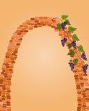 Arc de brique avec du raisin Photos stock