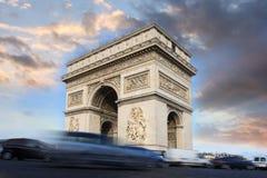 arc de evening Γαλλία Παρίσι θρίαμβος Στοκ φωτογραφίες με δικαίωμα ελεύθερης χρήσης