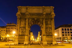Arc de la Porte d`Aix in Marseille. Marseille, Provence-Alpes-Cote d`Azur, France Royalty Free Stock Photos
