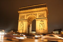 arc de night巴黎triomphe 图库摄影