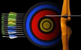 Arc de sports - flèches et cible Photographie stock libre de droits