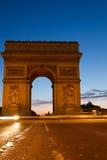 Arc de Tiomphe at night. Arc de Triomphe in Paris, France Stock Photos