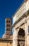 Arc de Titus and Basilica di Santa Francesca Romana in Rome Stock Photos
