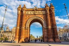 Arc de Triomf - Βαρκελώνη, Καταλωνία, Ισπανία Στοκ Φωτογραφίες
