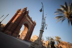 arc de triomf που χτίζει τη Βαρκελώνη Ισπανία Στοκ Εικόνα