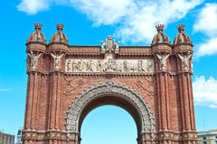 The Arc de Triomf. Details of the The Arc de Triomf, situated at the end of a wide promenade in Barcelona, Spain Stock Photo