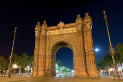 Arc de Triomf. At night in Barcelona, Spain Royalty Free Stock Image