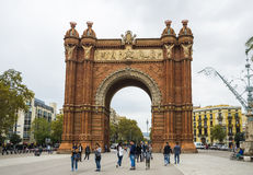 Arc de Triomf arch in Barcelona, Spain. BARCELONA, CATALONIA, SPAIN - OCTOBER 10, 2016. Arc de Triomf arch in Barcelona, Spain Stock Photos